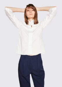 white-shirt-blue-trousers
