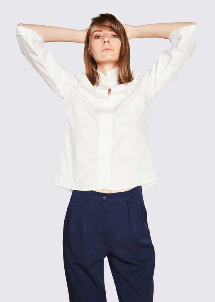 white-shirt-blue-trousers